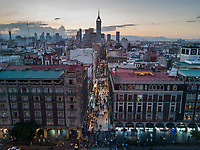 Drone photos of the Day of the Dead instalation in the Zocalo 2017, Mexico City, Mexico