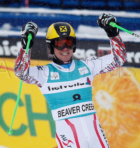 04.12.2011. Beaver Creek Colorado USA Ski Alpine FIS World Cup Giant slalom the men Picture shows the cheering from Marcel Hirscher AUT