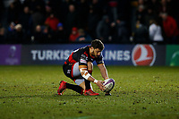 Dorian Jones of Dragon lines a conversion up during the European Challenge Cup match between Dragons and Bordeaux Begles at Rodney Parade, Newport, Wales, UK. 20 January 2018