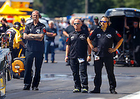 Aug 21, 2016; Brainerd, MN, USA; Crew members for NHRA top alcohol funny car driver Jonnie Lindberg during the Lucas Oil Nationals at Brainerd International Raceway. Mandatory Credit: Mark J. Rebilas-USA TODAY Sports