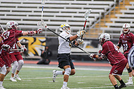 Towson, MD - May 6, 2017: Towson Tigers Alex Woodall (41) scores a goal during game between Towson and UMASS at  Minnegan Field at Johnny Unitas Stadium  in Towson, MD. May 6, 2017.  (Photo by Elliott Brown/Media Images International)