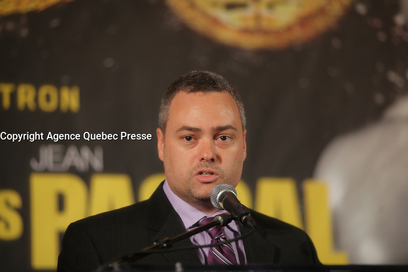 Montreal, CANADA, Marc 11, 2015.<br /> <br /> Marc Ramsey attend the<br />  news conference about their upcoming  Kovalev- Pascal fight on March 14, 2015 at the Bell Centre in Montreal.