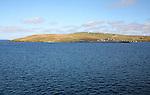 View of Yell island from ferry, Yell, Shetland Islands, Scotland