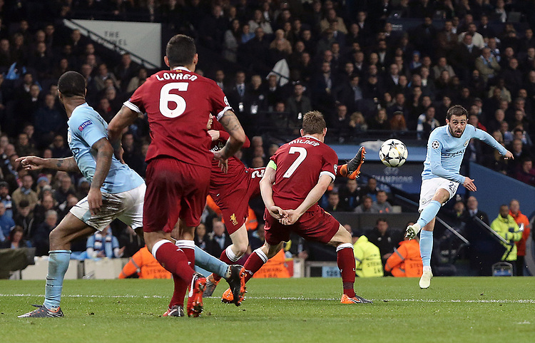 Manchester City's Bernardo Silva unleashes a strike early in the first half which hits the post<br /> <br /> Photographer Rich Linley/CameraSport<br /> <br /> UEFA Champions League Quarter-Final Second Leg - Manchester City v Liverpool - Tuesday 10th April 2018 - The Etihad - Manchester<br />  <br /> World Copyright &copy; 2017 CameraSport. All rights reserved. 43 Linden Ave. Countesthorpe. Leicester. England. LE8 5PG - Tel: +44 (0) 116 277 4147 - admin@camerasport.com - www.camerasport.com
