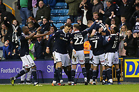 Millwall players congratulate Shane Ferguson after scoring their second goal during Millwall vs Hull City, Emirates FA Cup Football at The Den on 6th January 2019