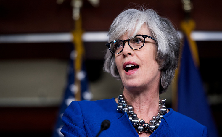 UNITED STATES - JANUARY 10: Rep. Katherine Clark, D-Mass., speaks during the Bipartisan Heroin Task Force news conference on the release of the 2018 legislative agenda for the 115th Congress on Wednesday, Jan. 10, 2018. (Photo By Bill Clark/CQ Roll Call)
