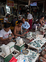The Jade Market in Mandalay, Myanmar, Burma