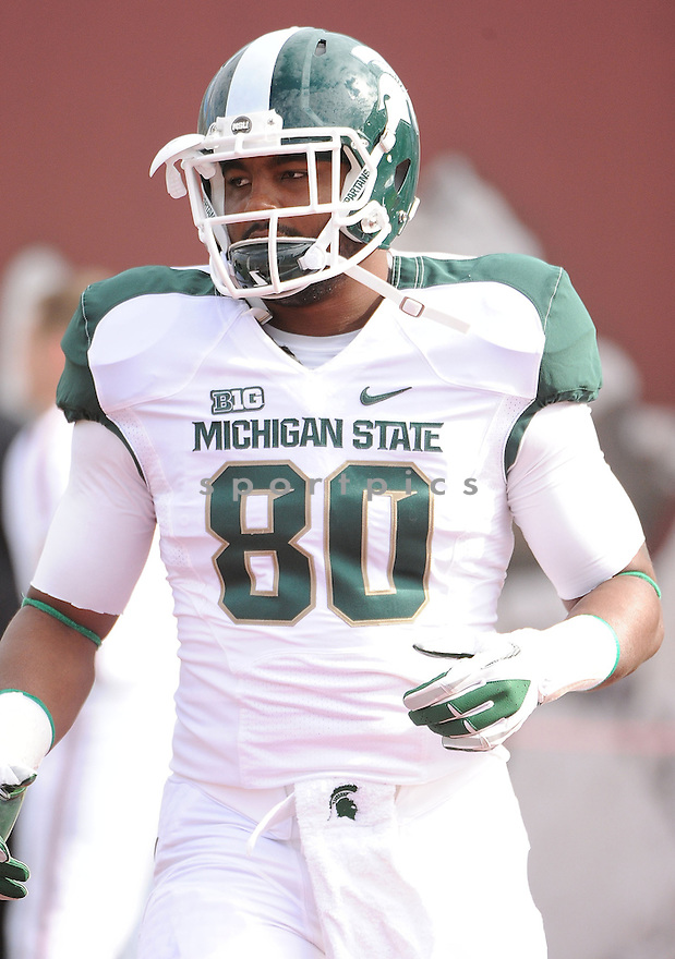 Michigan State Spartans Dion Sims (80)  in action during a game against Indiana on October 6, 2012 at Memorial Stadium in Bloomington, IN. Michigan State beat Indiana 31-27.