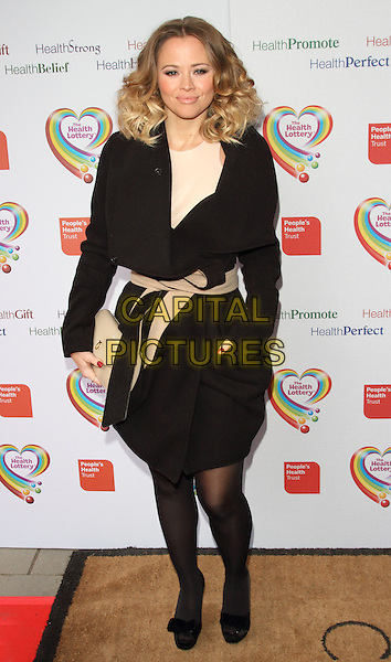 Kimberley Walsh.The Health Lottery Fundraising reception at Claridge's Hotel, London, England..28th March 2013.full length jacket tights beige belt clutch bag black.CAP/ROS.©Steve Ross/Capital Pictures....