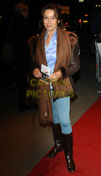 CHERIE LUNGHI.Attends the 'Burke and Hare' World Premiere at The Chelsea Cinema, Kings Road, Chelsea, London, England, UK, 25th October 2010..full length brown fur collar leather jacket scarf knee high boots jeans purple silk satin shirt blouse pashmina .CAP/CJ.©Chris Joseph/Capital Pictures.