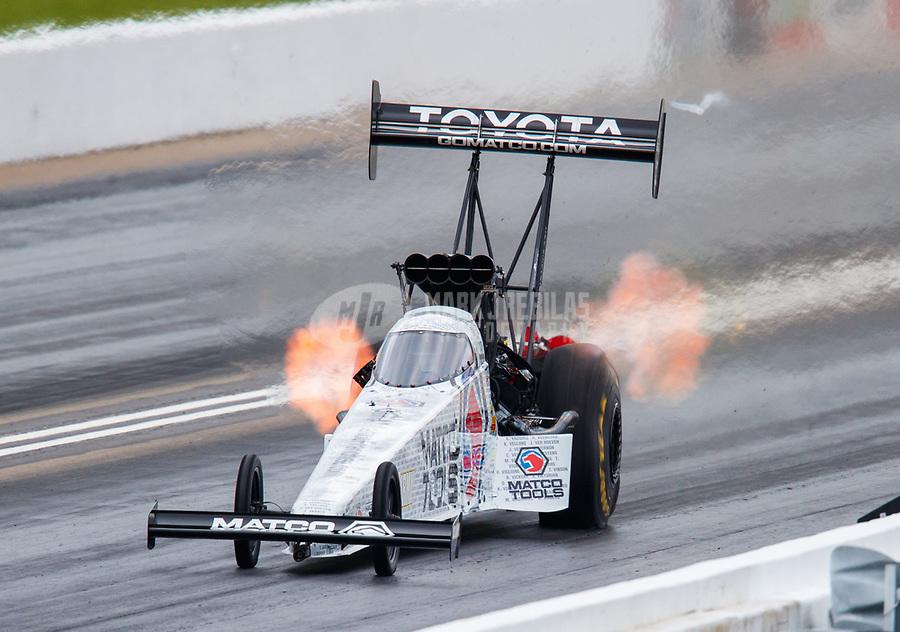 May 20, 2017; Topeka, KS, USA; NHRA top fuel driver Antron Brown during qualifying for the Heartland Nationals at Heartland Park Topeka. Mandatory Credit: Mark J. Rebilas-USA TODAY Sports