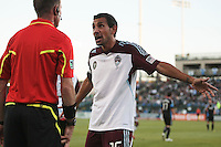 Colorado Rapids defender/midfielder Pablo Mastroeni (25) argues the call with the referee's assistant during the Colorado Rapids 2-1 victory over the San Jose Earthquakes at Buck Shaw Stadium in Santa Clara, California.