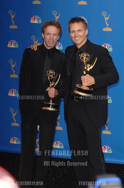 """The Amazing Race"" producer JERRY BRUCKHEIMER (left) & host PHIL KEOGAN at the 2006 Primetime Emmy Awards at the Shrine Auditorium, Los Angeles..8 27, 2006 Los Angeles, CA.© 2006 Paul Smith / Featureflash"