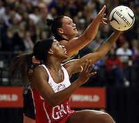 25.10.2012 Silver Ferns Cathrine Latu and England's Eboni Beckford-Chambers in action during the Silver Ferns v England netball test match as part of the Quad Series played at the TSB Arena Wellington. Mandatory Photo Credit ©Michael Bradley.