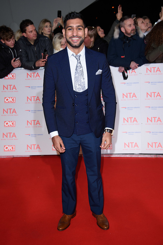 Amir Khan<br /> arriving for the National Television Awards 2018 at the O2 Arena, Greenwich, London<br /> <br /> <br /> ©Ash Knotek  D3371  23/01/2018