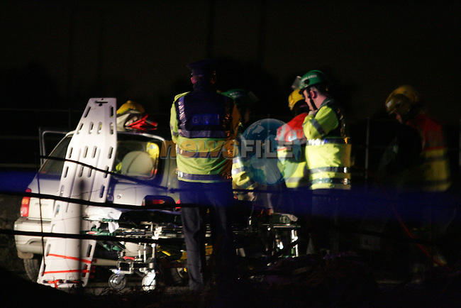 Two Units of the Drogheda Fire service and two Ambulances from Drogheda attended the scene of an accident at the Mt. Hanover cross on the Bayemore road close to Platin cement works. Two casulties were removed to Our lady of  Lourdes hospital in Drogheda...Photo: Newsfile/Fran Caffrey.