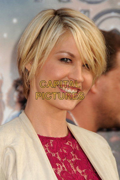 "Jenna Elfman.""Rock of Ages"" Los Angeles Premiere held at Grauman's Chinese Theatre,  Hollywood, California, USA,.8th June 2012..portrait headshot beige cream jacket pink lace red dress smiling .CAP/ADM/BP.©Byron Purvis/AdMedia/Capital Pictures."