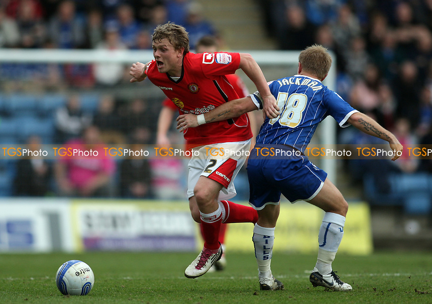 Matt Tootle of Crewe Alexandra is fouled by Danny Jackman of Gillingham FC - Charlton Athletic vs Stevenage - nPower League One Football at the Valley, London - 10/03/12 - MANDATORY CREDIT: Helen Watson/TGSPHOTO - Self billing applies where appropriate - 0845 094 6026 - contact@tgsphoto.co.uk - NO UNPAID USE.