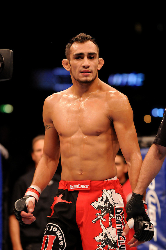 24 SEPTEMBER 2011:   Tony Ferguson celebrates his win over Aaron Riley  during UFC 135 at the Pepsi Center in Denver, Colorado. *****For Editorial Use Only*****