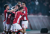 7th December 2017, Rajko Mitic Stadium, Belgrade, Serbia, UEFA Europa League football, Red Star Belgrade versus FC Cologne; Midfielder Slavoljub Srnic of Red Star Belgrade, Defender Vujadin savic of Red Star Belgrade, Defender Filip Stojkovic of Red Star Belgrade celebrate the goal for 1-0
