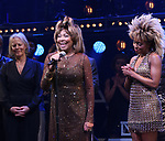 """Phyllida Lloyd, Tina Turner and Adrienne Warren during the """"Tina - The Tina Turner Musical"""" Opening Night Curtain Call at the Lunt-Fontanne Theatre on November 07, 2019 in New York City."""