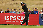 Miguel Angel Jimenez hits his drive on the 18th hole during the opening round of the ISPS Handa Wales Open 2013 at the Celtic Manor Resort<br /> <br /> 29.08.13<br /> <br /> ©Steve Pope-Sportingwales