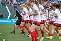 Portland, Oregon - Sunday April 17, 2016: Members of the Portland Thorns FC including Meleana Shim (6) warm up. The Portland Thorns play the Orlando Pride during a regular season NWSL match at Providence Park. The Thorns won 2-1.