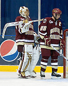 John Muse (BC - 1), Matt Price (BC - 25) - The Merrimack College Warriors defeated the Boston College Eagles 5-3 on Sunday, November 1, 2009, at Lawler Arena in North Andover, Massachusetts splitting the weekend series.