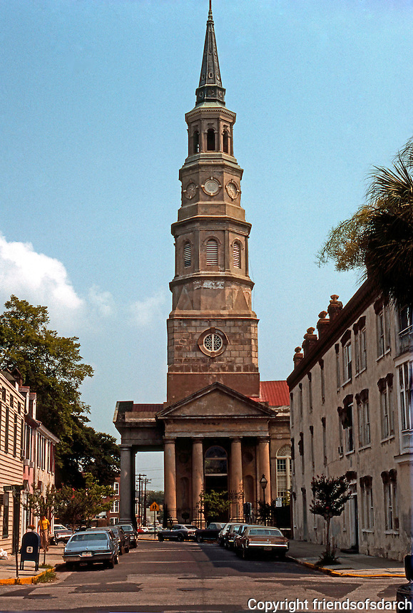 Charleston: St. Philip's.  Historic Episcopal Church in French Quarter, 1836.  Tower designed in Wren-Gibbs tradition. 3 Tuscan pedimented corners. NRH in 1978. Phot0 '76.