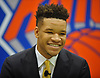 Kevin Knox, selected by the New York Knicks in the first round (ninth overall) of the 2018 NBA Draft, grins during his introductory news conference at Madison Square Garden Training Center in Greenburgh, NY on Friday, June 22, 2018.