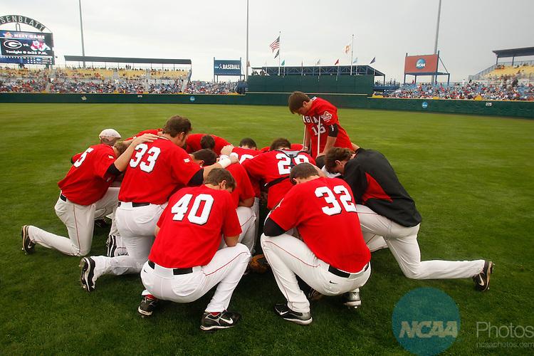 24 JUNE 2008:  Fresno State University takes on the University of Georgia during the Division I Men's Baseball Championship held at Rosenblatt Stadium in Omaha, NE.  Jamie Schwaberow/NCAA Photos