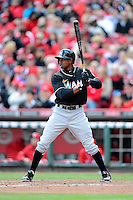 Miami Marlins outfielder Juan Pierre #9 during a game against the Cincinnati Reds at Great American Ball Park on April 20, 2013 in Cincinnati, Ohio.  Cincinnati defeated Miami 3-2 in 13 innings.  (Mike Janes/Four Seam Images)