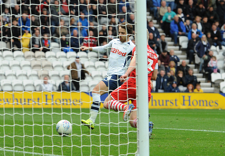 Preston North End's Ben Pearson scores his side's fourth goal <br /> <br /> Photographer Kevin Barnes/CameraSport<br /> <br /> The EFL Sky Bet Championship - Preston North End v Barnsley - Saturday 5th October 2019 - Deepdale Stadium - Preston<br /> <br /> World Copyright © 2019 CameraSport. All rights reserved. 43 Linden Ave. Countesthorpe. Leicester. England. LE8 5PG - Tel: +44 (0) 116 277 4147 - admin@camerasport.com - www.camerasport.com