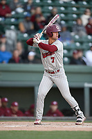 Third baseman Jacob Olsen (7) of the South Carolina Gamecocks bats in a game against the Furman Paladins on Tuesday, March 19, 2019, at Fluor Field at the West End in Greenville, South Carolina. South Carolina won, 12-7. (Tom Priddy/Four Seam Images)
