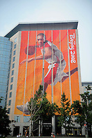 Aug. 6, 2008; Beijing, CHINA; A building is decorated with an Olympic theme in Beijing. The Olympics begin at 8pm on August 8, 2008. Mandatory Credit: Mark J. Rebilas-