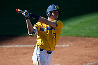 Michigan Wolverines designated hitter Dominic Clementi (13) takes a warmup swing during a game against Army West Point on February 17, 2018 at Tradition Field in St. Lucie, Florida.  Army defeated Michigan 4-3.  (Mike Janes/Four Seam Images)