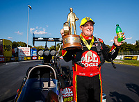 Sep 17, 2017; Concord, NC, USA; NHRA top fuel driver Doug Kalitta celebrates after winning the Carolina Nationals at zMax Dragway. Mandatory Credit: Mark J. Rebilas-USA TODAY Sports