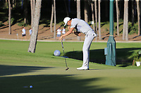 Haotong Li (CHN) misses his birdie putt on the 17th green during Saturday's Round 3 of the 2018 Turkish Airlines Open hosted by Regnum Carya Golf &amp; Spa Resort, Antalya, Turkey. 3rd November 2018.<br /> Picture: Eoin Clarke | Golffile<br /> <br /> <br /> All photos usage must carry mandatory copyright credit (&copy; Golffile | Eoin Clarke)