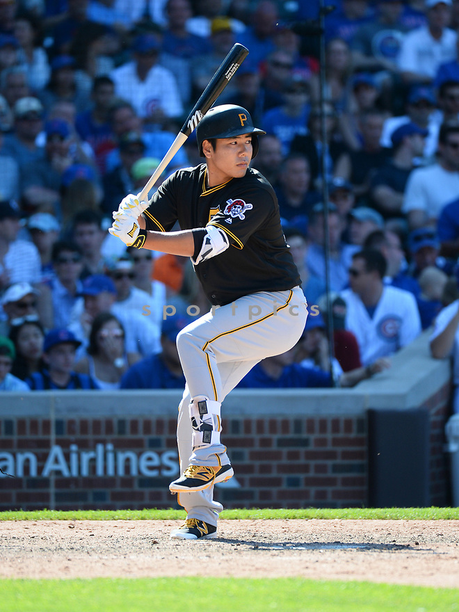 Pittsburgh Pirates Kang Jung-Ho (27) during a game against the Chicago Cubs on June 17, 2016 at Wrigley Field in Chicago, IL. The Cubs beat the Pirates 6-0.