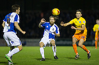 Luke O'Nien of Wycombe Wanderers & Stuart Sinclair of Bristol Rovers go for the ball during the Sky Bet League 2 rearranged match between Bristol Rovers and Wycombe Wanderers at the Memorial Stadium, Bristol, England on 1 December 2015. Photo by Andy Rowland.