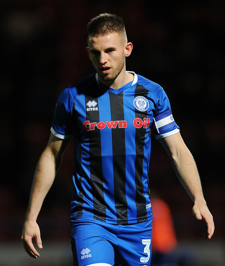 Rochdale's Rhys Norrington-Davies<br /> <br /> Photographer Kevin Barnes/CameraSport<br /> <br /> EFL Leasing.com Trophy - Northern Section - Group F - Rochdale v Bolton Wanderers - Tuesday 1st October 2019  - University of Bolton Stadium - Bolton<br />  <br /> World Copyright © 2018 CameraSport. All rights reserved. 43 Linden Ave. Countesthorpe. Leicester. England. LE8 5PG - Tel: +44 (0) 116 277 4147 - admin@camerasport.com - www.camerasport.com