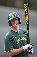 J.J. Altobelli #22 of the Oregon Ducks before a game against the UCLA Bruins at Jackie Robinson Stadium on April 6, 2012 in Los Angeles,California. Oregon defeated UCLA 8-3.(Larry Goren/Four Seam Images)