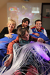 Official opening of the sensory room at  Crug Glas School in Swansea sponsored by BT and the Lords Taverners...Welsh Paralympian Nathan Stephens who opened the sensory room alongside Ann Beynon, BT Wales and Chrissie Colbeck from the Lords Taverners with pupil Robyn Smith. .05.12.12..©Steve Pope