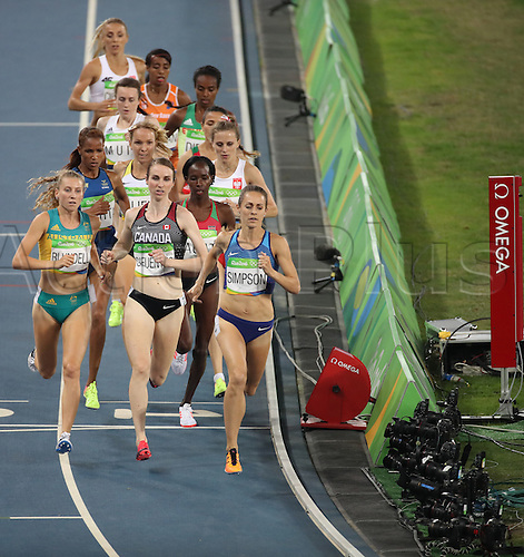 14.08.2016. Rio de Janeiro, Brazil. (L-R Nicole Sifuentes of Canada, Nicole Sifuentes of Canada and Jennifer Simpson of Great Britain compete in the Women's 1500m Semifinal of the Athletic, Track and Field events during the Rio 2016 Olympic Games at Olympic Stadium in Rio de Janeiro, Brazil, 14 August 2016.