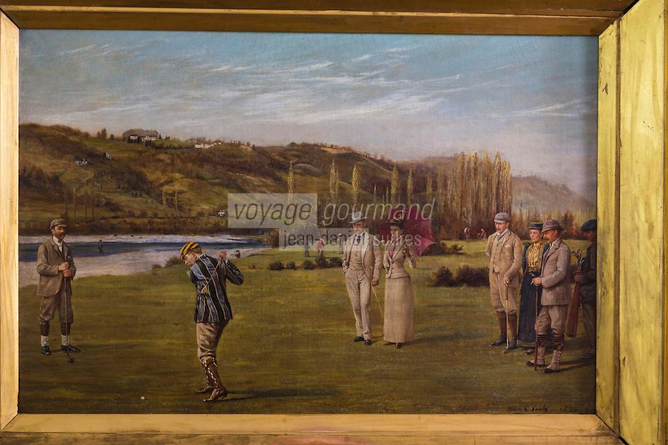 France, Aquitaine, Pyrénées-Atlantiques, Béarn, Pau: Le Golf: Pau Golf Club - tableaux de la salle d'honneur //  France, Pyrenees Atlantiques, Bearn, Pau: Pau Golf Club - paintings of the honor hall