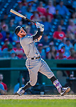 30 July 2017: Colorado Rockies shortstop Trevor Story in action against the Washington Nationals at Nationals Park in Washington, DC. The Rockies defeated the Nationals 10-6 in the second game of their 3-game weekend series. Mandatory Credit: Ed Wolfstein Photo *** RAW (NEF) Image File Available ***