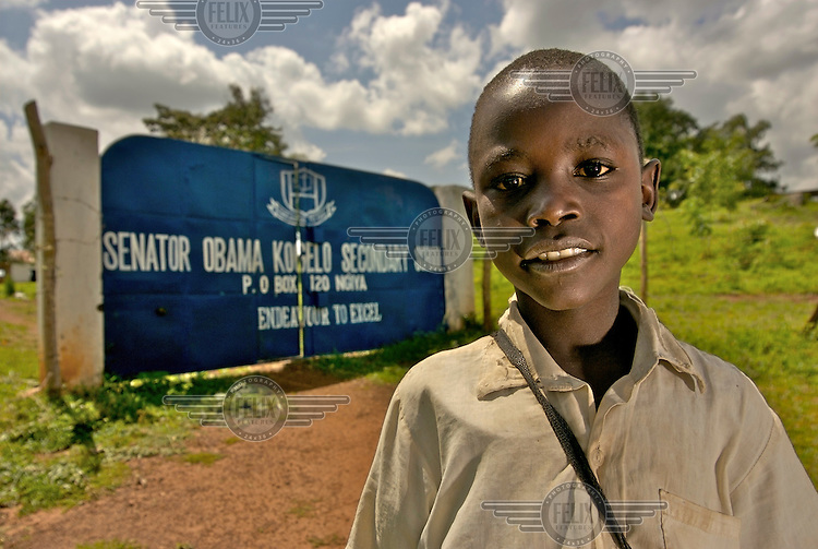 A pupil outside the gates of the Senator Obama Kogelo Secondary School, which was recently renamed in honour of Democrat Senator and US presidential candidate Barack Obama. Obama's father was born and brought up in the village of Nyangoma Kogelo, and his grandmother still lives here.