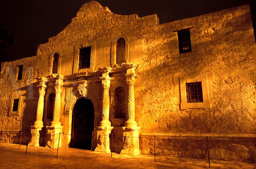 Alamo at night. San Antonio, Texas.