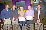 Pictured at the presentation for best commercial premises by Waterville Tidy Towns on Saturday night last in the Lobster Bare were l-r; Brendy Donnelly(Chairman WTT), Alf Foster 1st -Waterville Craft Market, Sheila O'Carroll 3rd -Lobster Bar, Alan McGuirk 2nd- Waterville Hose & Golf Links and Pat Everett (WTT).
