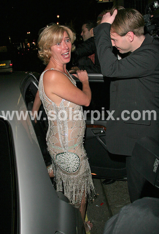 **ALL ROUND PICTURES FROM SOLARPIX.COM**.**WORLDWIDE SYNDICATION RIGHTS**.A tipsy Emma Thompson leaves a Speakeasy charity night at Claridge's in London in aid of The Lavender Trust at Breast Cancer Care.  She was mobbed by paparazzi who had been expecting Kate Moss as Emma was collected by Kate's driver...JOB REF:  3503     SSD     DATE: 14.03.07.**MUST CREDIT SOLARPIX.COM OR DOUBLE FEE WILL BE CHARGED* *UNDER NO CIRCUMSTANCES IS THIS IMAGE TO BE REPRODUCED FOR ANY ONLINE EDITION WITHOUT PRIOR PERMISSION*